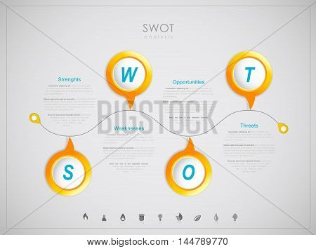 SWOT - (Strengths Weaknesses Opportunities Threats) business strategy mind map concept for presentations.