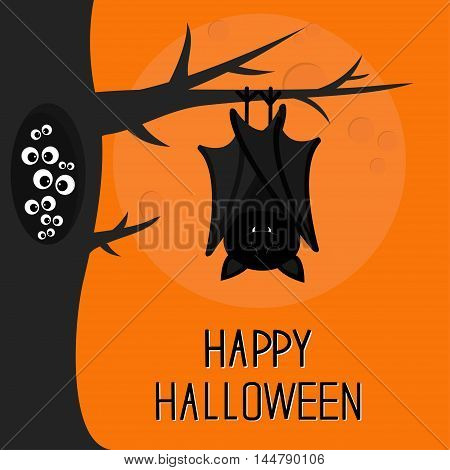 Happy Halloween card. Bat hanging on tree. Hollow with eyes in the dark. Closed wings. Cute cartoon character. Baby illustration collection. Flat design. Orange background Big moon Vector illustration