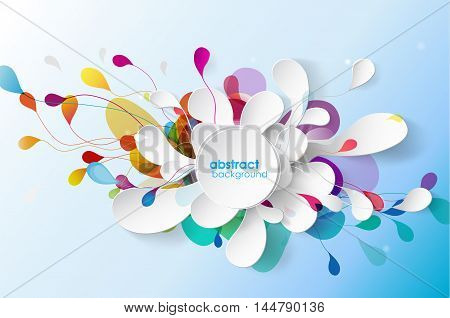 Abstract background with paper flower. Vector art