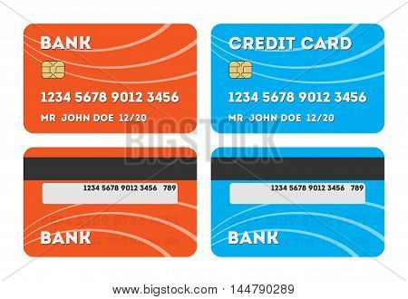 Two isolated credit cards. Red and blue credit or debit plastic cards on white background. Two sides of card. Shopping with credit card.