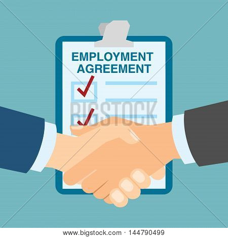 Employment agreement handshake. Hiring new employee and staff and making agreement. Finding new candidates.