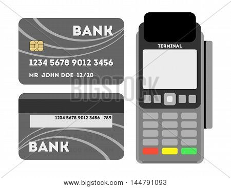 Credit card with pos. Portable terminal with credit or debit card. Shopping and service payment with plastic card. Pos with pin pad.
