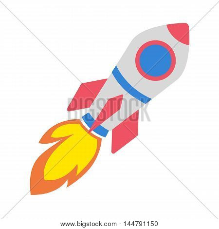 Isolated flying rocket on white background. Concept of startup, new idea and new space. Colorful cartoon space rocket.