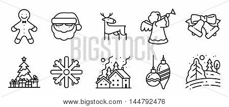 Vector black and white thin simply icons set with Christmas holidays in line art style. Pine tree with gifts winter night snowy landscape decorations Santa angel deer and Gingerbread characters