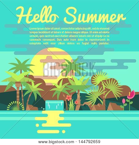 Tropics summer vacation vector background in trendy flat style. Banner for advertising of travel agency illustration