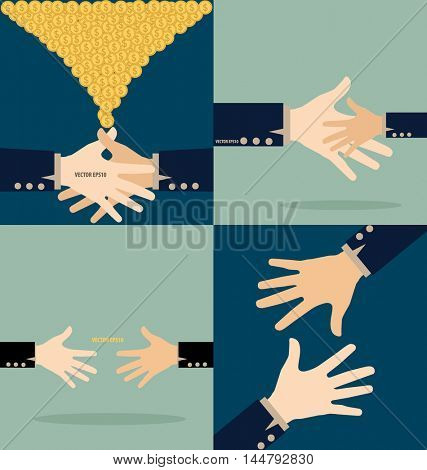 Hand with money conins. Modern Flat design vector illustration concept
