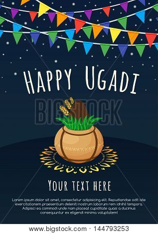 Happy Ugadi lettering with Kalash and rangoli on a dark background. Gudi Padwa Hindu new year.