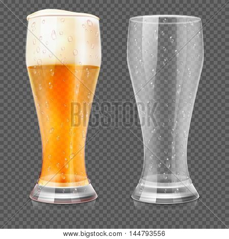 Realistic beer glasses, empty mug and full lager glass isolated on transparent checkered background. Alcohol beverage with white foam. Vector illustration