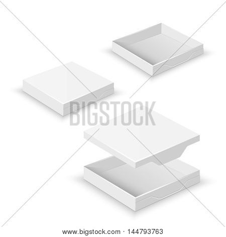 White square flat empty 3d boxes isolated on white vector template. Cardboard container for pizza delivery illustration