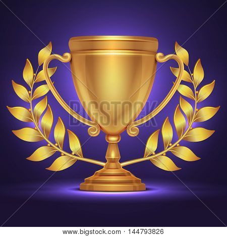 Olympic gold trophy cup award for sport winner with laurel wreath. Golden goblet prize, triumph and glory, vector illustration