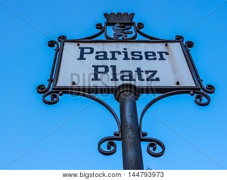 Pariser Platz Sign Hdr