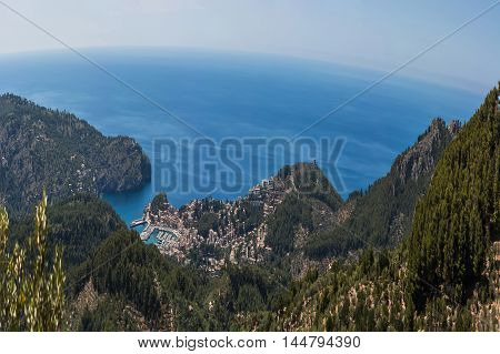 Panoramic views of the bay of Port de Soller Mallorca in Spain.