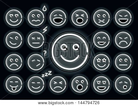 Neon emotions set. Set of smile, glowing emoji isolated on black background.