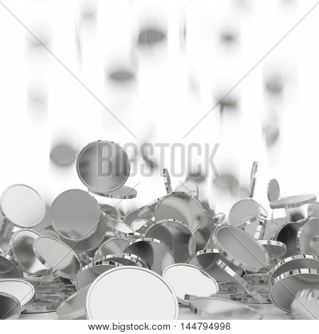 Falling golden and silver coins. Money rain. Pile of coins. Financial success, cash flow, business on the rise concept. 3D illustration