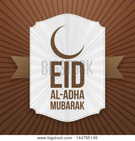 Eid al-Adha realistic Badge with Text and brown Ribbon. Vector Illustration