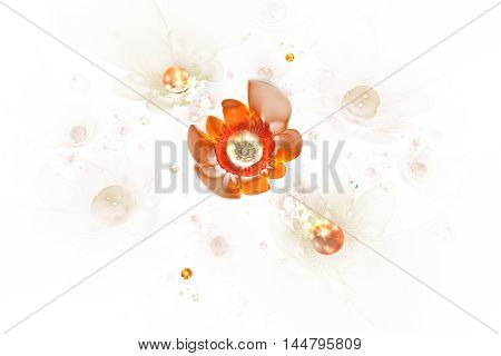 Abstract glowing rose flowers on white background. Fantasy red orange and beige fractal design for posters wallpapers or t-shirts. Digital art. 3D rendering.