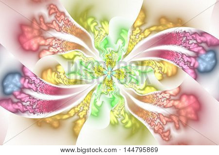 Abstract intricate floral ornament on white background. Fantasy pink green yellow and blue fractal design for posters wallpapers or t-shirts. Digital art. 3D rendering.
