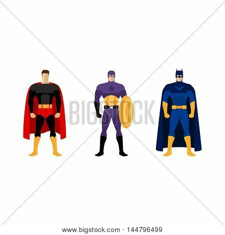 Superhero costumes isolated vector set of clothes for super heroes