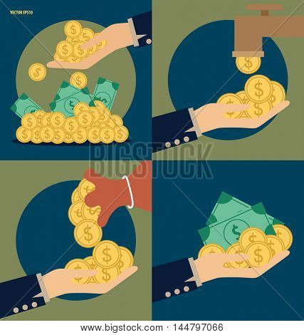 Business concept. Hand and Saving money bag with money coins. Vector illustration
