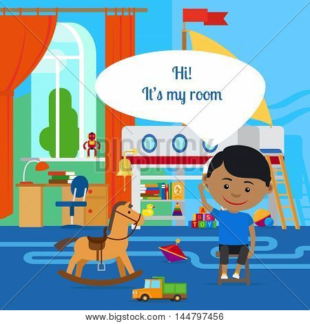Boy with message bubble and room in flat cartoon vector style