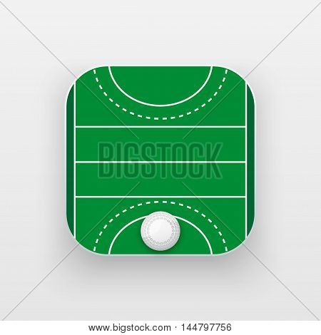 Square icon of hockey field on grass. Sporting field and ball. Vector Illustration isolated on background.