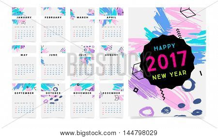 Calendar for 2017 vector template with abstract geometric pattern. Week starts from sunday.