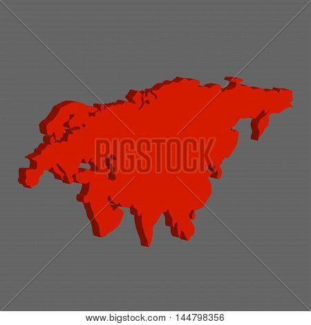 Eurasia Continent. Red color on a gray background
