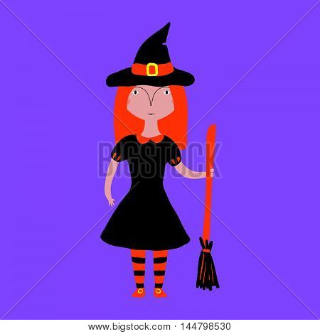 Girl In A Halloween Witch Costume