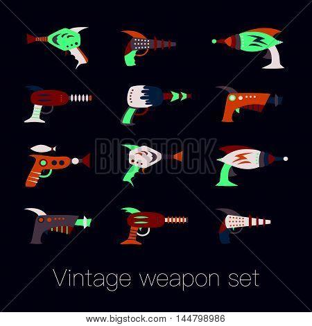 Vintage space weapon set on black background. Vector illustration