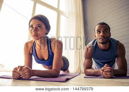 Afro American Couple Doing Yoga