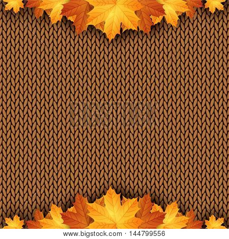 Autumn knitted warm background with space for text. Vector illustration