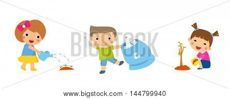 Save Earth. Waste recycling. Children planted young trees. Girl watering flowers