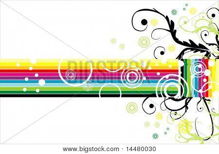 retro style fantasy rainbow card