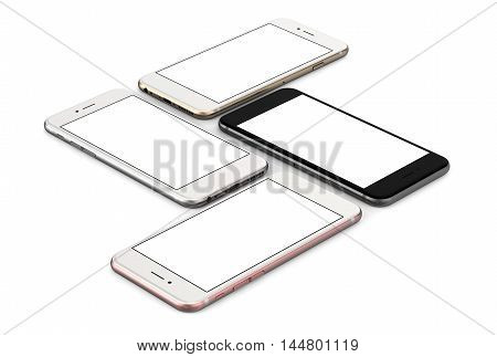Set of four smartphones gold, rose, silver and black with blank screen, isolated on white background. 3d rendering.