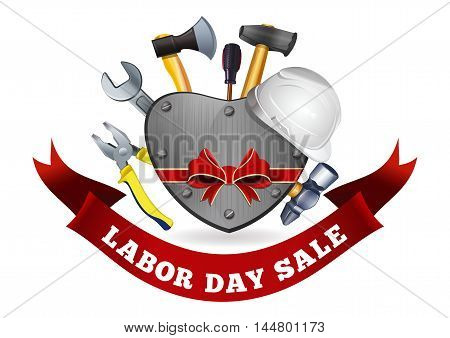 Labor Day Sale. Poster with iron hear and various tools for Labor Day. Vector illustration