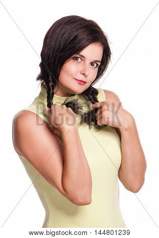 Young pretty woman playing with her hair isolated on white background