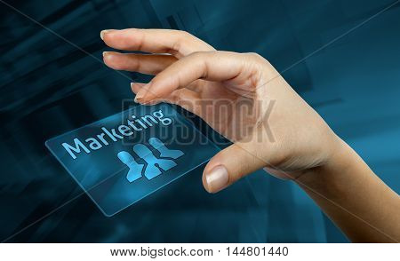a digital card with the word marketing