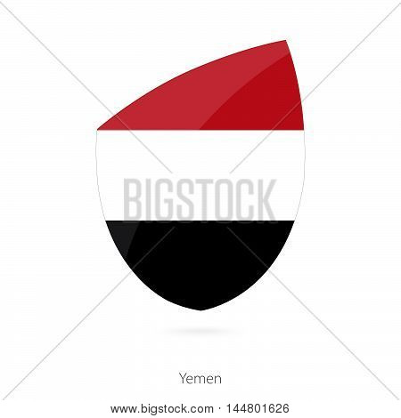 Flag of Yemen in the style of Rugby icon. Vector Illustration.