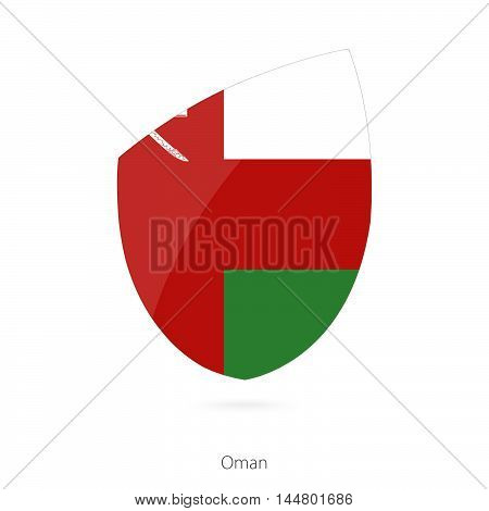 Flag of Oman in the style of Rugby icon. Vector Illustration.