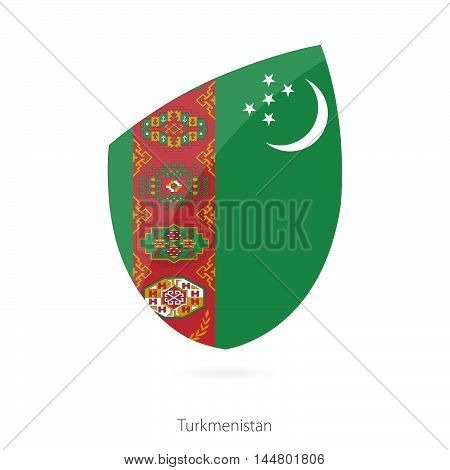 Flag of Turkmenistan in the style of Rugby icon. Vector Illustration.