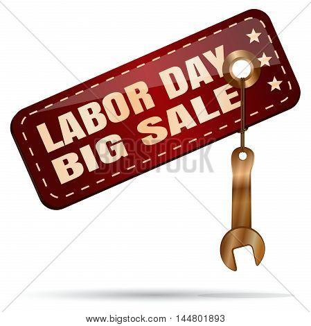 Labor Day Big Sale. Red tag with a golden spanner. Vector illustration isolated on white background