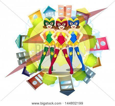 Three superheroes and neighborhood background illustration