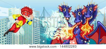 Superhero fighting three headed dragon in city illustration