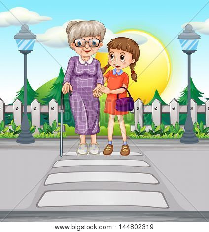 Girl helping old woman crossing the road illustration
