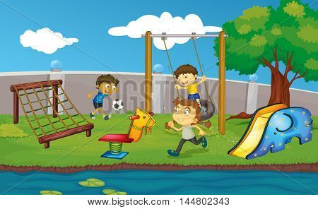 Kids playing in field or park