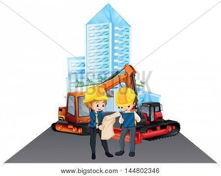 Two engineers working at the site illustration
