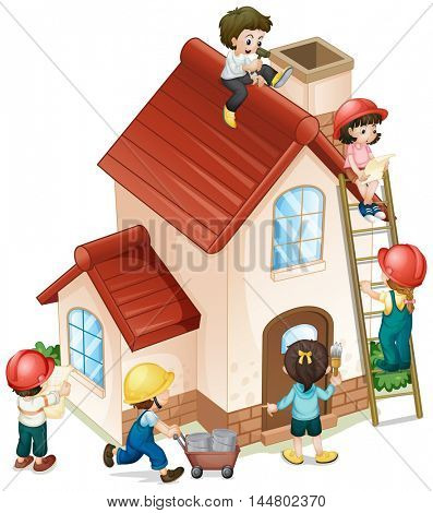 People building and painting the house illustration