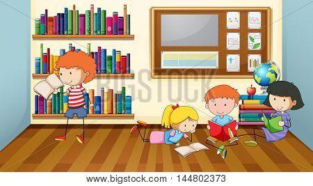 Children reading books in classroom illustration