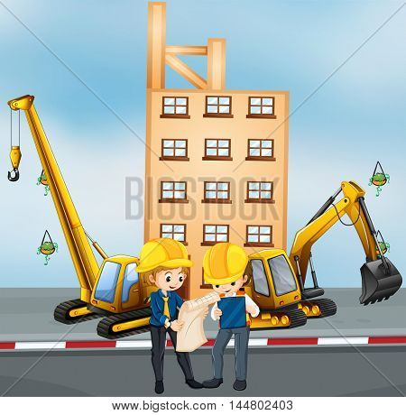 Two engineers working at construction site illustration