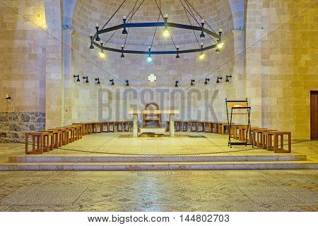 TABGHA ISRAEL - FEBRUARY 22 2016: The interior of the Multiplication Church the place of pilgrimage of christians from all over the world on February 22 in Tabgha.